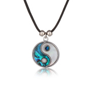 Barch Young Blue Abalone Paua Shell China Tai Ji Pendant with Silver Necklace on Stainless Steel Chain and Wax Leather Cord of Length 46cm