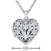 IXIQI Jewellery Locket Flower Shape Heart Infinity Love White Gold Locket Pendants Necklaces for Women Girls Can Open For Photo 46cm