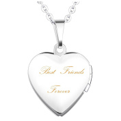 "Mrs IXIQI Titanium Infinity Love Heart Pendant Necklace Locket Engraved With ""Best friend forever"" Gifts Present For Women With 45cm Chains And Fashion Box"