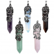JSDDE Vintage Antique Silver Flower Wrapped Natural Quartz Stone Reiki Healing Crystal Pendant Necklace