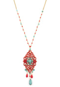 """SATELLITE Women's """"Stromboli"""" Gold Plated Brass Oval Turquoise Red Chandelier Beads Chain Necklace of 55cm"""