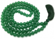 Green Aventurine Japa Mala 108 beads each 8 mm wide, sitting back to back, plus 1 larger guru bead, 34 inches in length, with real gemstones, for use in Meditation or as a Necklace