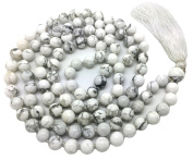 Howlite Japa Mala 108 beads each 8 mm wide, with knots in between, plus 1 larger guru bead, 40 inches in length, with real gemstones, for use in Meditation or as a Necklace