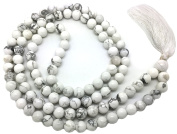 Howlite Japa Mala 108 beads each 8 mm wide, sitting back to back, plus 1 larger guru bead, 35 inches in length, with real gemstones, for use in Meditation or as a Necklace