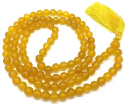 Yellow Jade Japa Mala 108 beads each 8 mm wide, sitting back to back, plus 1 larger guru bead, 35 inches in length, with real gemstones, for use in Meditation or as a Necklace