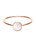Happiness Boutique Women Minimalist Ring Moonstone | Delicate Ring with Circular Stone Rose Gold Plated