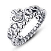 Presentski Platimum Plated Princess Queen Crown Stackable Ring with Clear Cubic Zirconia