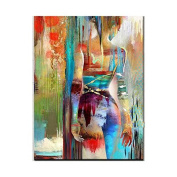 Artist hand-painted high-quality modern abstract wave style sexy girl background oil painting canvas nude oil painting wall decoration