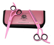 BeautyTrack® Professional Barber Hair Scissor Set , hair-dressing Kit, Hair-Thinning Scissor,100% SATISFACTION & QUALITY GUARANTEED,J2 Japanese stainless steel comes in beautiful pink matching case