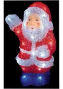 32 White Leds Acrylic Santa - 30cm Tall Xmas In/outdoor Decoration