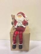 New Sparkly Santa & Skis Shelf Sitting Chrismas Decoration Figurine