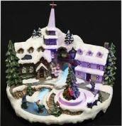Christmas Musical Festitve Village Church Scene Fibre Optic River Decoration