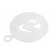 sourcingmap® Stainless Steel Home Kitchen Heart Designed Coffee Cookie Cake Mould Stencil Silver Tone