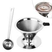 Stainless Steel Coffee Cone Dripper - Double-Layered Mesh Pour Over Coffee Filter Cone with Spoon
