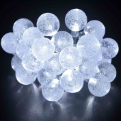 lederTEK Solar Powered Waterproof Fairy String Lights 6.1m 30 LED 2 Modes Crystal Globe Christmas Decorative Lamp for Outdoor, Garden, Home, Wedding, Xmas New Year Party