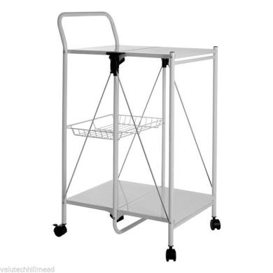 Castleton Home Folding Kitchen Trolley, White