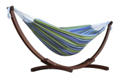 Vivere C8spct-24 Double Cotton Hammock With Solid Pine Arc Stand - Oasis