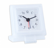 Moments Analogue Travel Alarm Clock Case With Stand Battery Operated Clear White