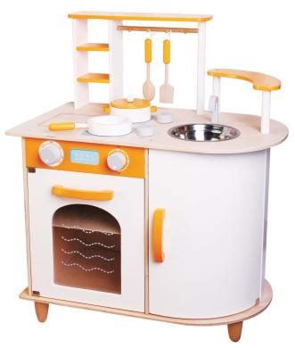 Lelin Wooden Childrens Pretend Play Saffron Kitchen Cooking Oven Toy