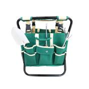 New! Folding Gardeners Tool Stool With 5pc Tools And Storage Bag