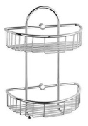 Luxxur ™ C020 Superior Chrome On Brass Double Wall Mounted Shower Caddy Basket