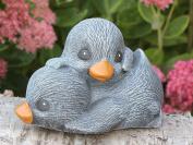 Garden Ornament Ducklings, Cast Stone, Slate Grey