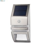 Elinkume 2 X Stainless Steel Led Solar Pir Motion Sensor Security Lights For