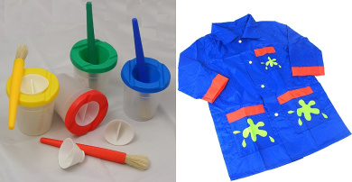 Childrens Paint Brush and Non-Spill Paint Pot Set with Blue Nylon Painting Coat 9 Piece Set