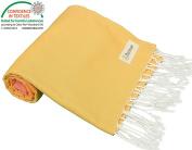 Bersuse 100% Cotton - Ephesus Turkish Towel - Bath Beach Fouta Peshtemal - OEKO-TEX Certified - Warm Colours Pestemal - 100cm X 180cm , Coral Yellow