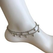 Silver Anklet Boho Double Drop Balls Delicate Summer Ankle Bracelet