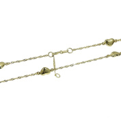 Nklaus 333 Yellow Gold Singapore Chain Anklet 25 cm with 5 Hearts 1855