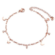 Sweetiee Titanium Steel Anklet Pendant with Mini Moon、Stars and Round Zircons Rose Gold 200mm for Woman