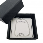 NANHONG Dainty Jewellery Beaded Charm Bracelet in 925 Sterling silver Hand Catenary with Gift Box