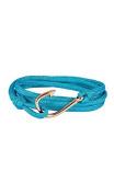 Harbour – Bling Fishing Hooks 107658 Stainless Steel Fabric TURQUOISE Wrap Bracelet Rose Gold