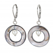 Lassiere Women's Earrings Rhodium Plated Mother of Pearl Black Pearl White