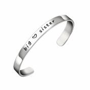 BESPMOSP Big Sis Middle Sis Little Sis Sister Cuff Bangle Bracelet Family Friend Gift for Women Girls