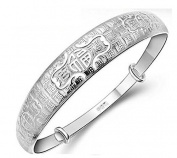 NANHONG 925 Sterling Silver Bracelet-3D Relief and Engraved Chinese Blessing