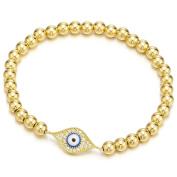 Gold Beads Bracelet for Women Girls Men with Cubic Zirconia Protection Evil Eye