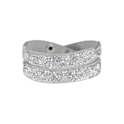 Mes-bijoux.fr - Woman's Bracelet Silver Alcantara decorated with Element Crystals - WRG201Ggv