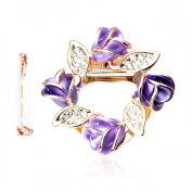 Merdia Women's Flower Scarf Clip Brooch Beautiful Scarf Buckle Ring with Created Crystal - Purple