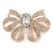 Rose Gold Tone Metal Clear Crystal Bow Brooch - 50mm W