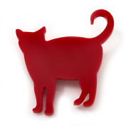 Red Acrylic Cat Brooch