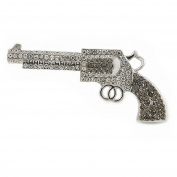 Clear, Dim Grey Crystal Revolver Brooch In Silver Tone Metal - 50mm