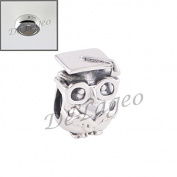 De'Lageo, Free 925 Stopper Bead with, 925 Sterling Silver Graduation Owl Charm Bead.