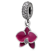Fuschia Enamel Orchid Charms Pendant Authentic 925 Sterling Silver Flower Bead with Clear Cz Stone Fit European Charms Bracelet