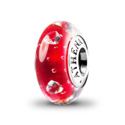 ATHENAIE Murano Glass 925 Silver Core Cerise Glass Heart Clear CZ Charms Bead Colour Red