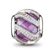 ATHENAIE 925 Sterling Silver Plated Platinum with Purple Clear CZ Intertwining Radiance Charm Beads