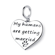 Dangle My Humas Are Getting Married Wedding 925 Sterling Silver Charms Pendant Heart Fit Bracelets Necklace,Pet Supplies for Dog Cat Paw Pet Animal,Amato Jewellery