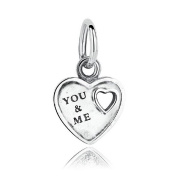 Silver Plated You & Me Love Heart Charms Pendants Fits Pandora