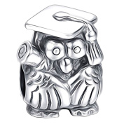 Graduation Owl with Scroll - Sterling Silver 925 Charm Bracelet Bead